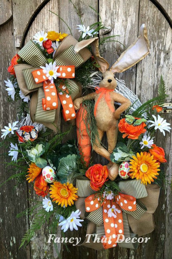 grapevine floral wreath, easter bunny wreath, sisal bunny wreath, orange green easter wreath, easter carrot wreath, easter bunny