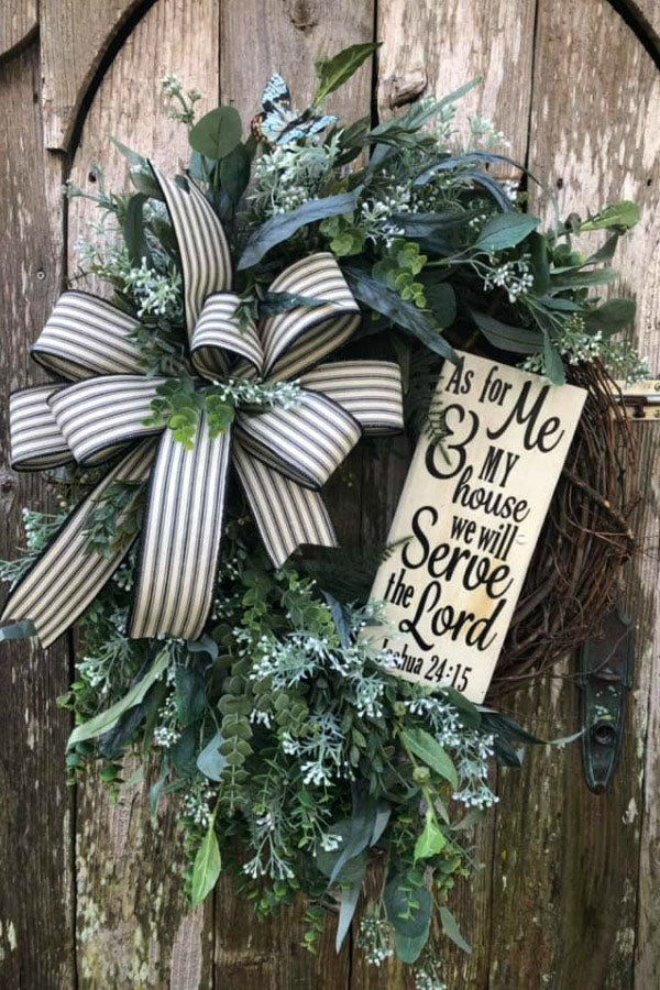 Everyday farmhouse wreath, inspirational wreath, year round wreath, religious wreath, farmhouse front door wreath, joshua 24:15 wreath