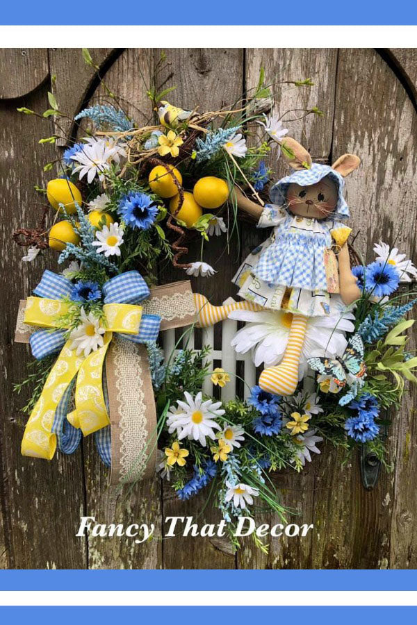 Spring door wreath, ragdoll wreath, Easter wreath, bunny wreath, lemon wreath, primitive doll, primitive bunny, Spring wreath, yellow blue