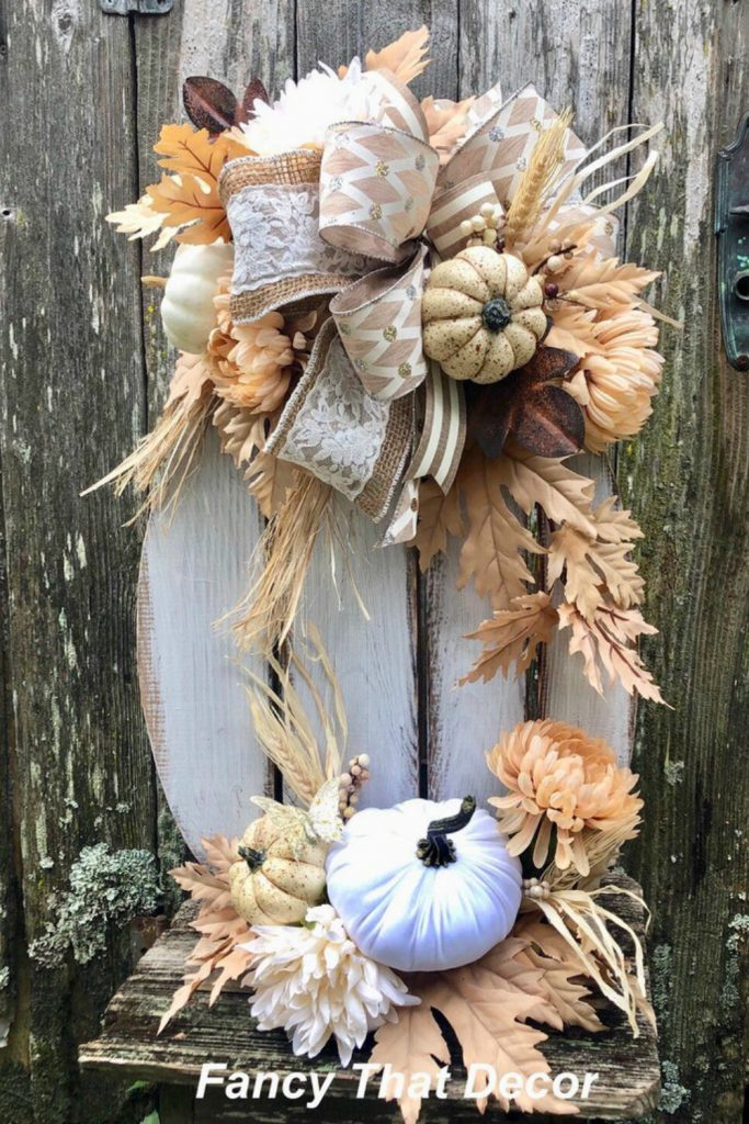 Pallet pumpkin stand, fall arrangement, wooden whitewashed pumpkin, autumn arrangement, pumpkin stand, fall decor, fall mantle, autumn decor