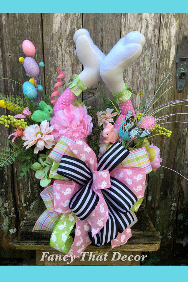 Easter basket arrangement, easter basket centerpiece, easter floral arrangement, bunny legs centerpiece, easter decor, easter basket, bunny
