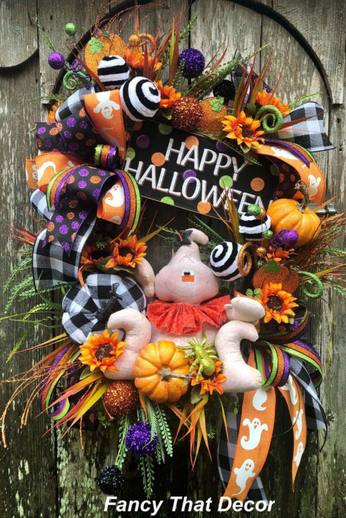 Happy halloween wreath, Halloween wreath, ghost wreath, primitive ghost, happy halloween sign, ghost wreath attachment, Halloween sign