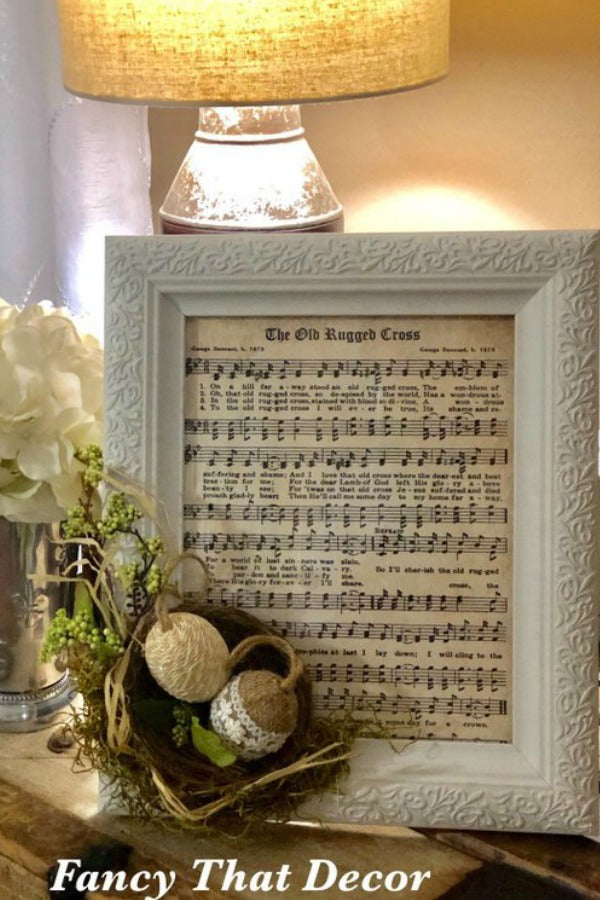 Old rugged cross sign, spring decor, easter decor, embellished picture frame, sheet music picture, home decor, decorated picture frame