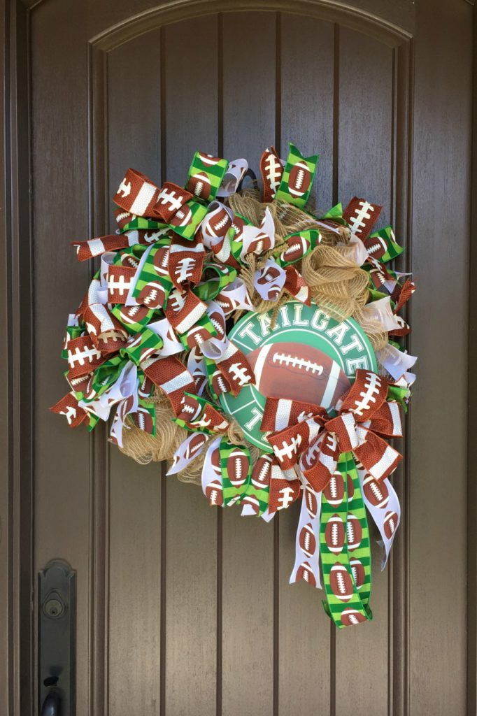 how to make a football wreath, tailgate wreath,