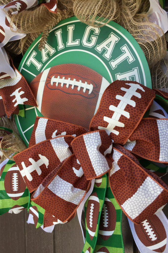 how to make a football wreath, tailgate wreath