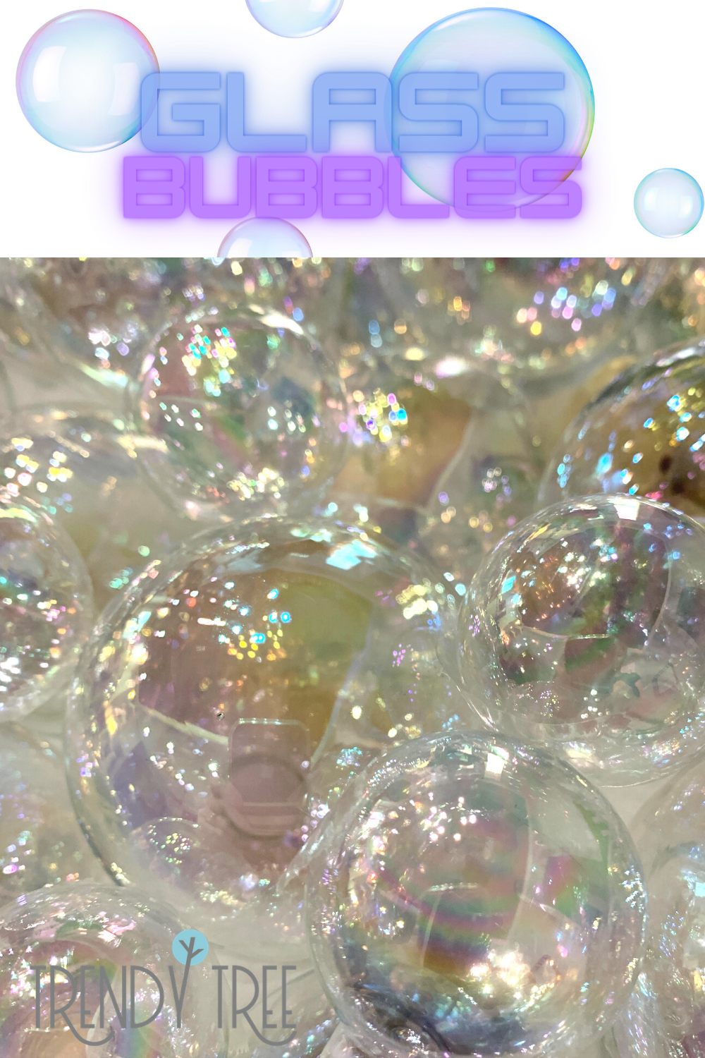 iridescent glass ornaments for bubbles