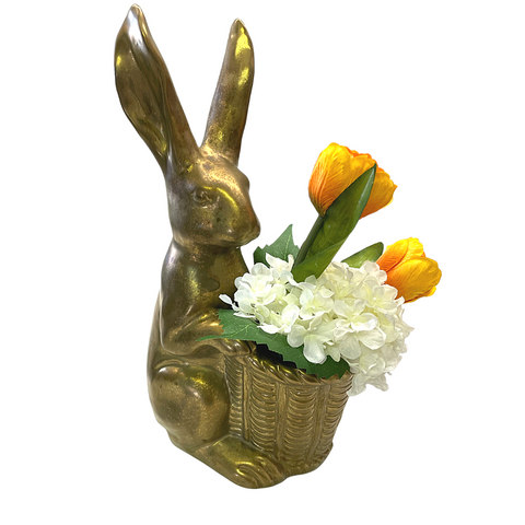 gold bunny with tulips