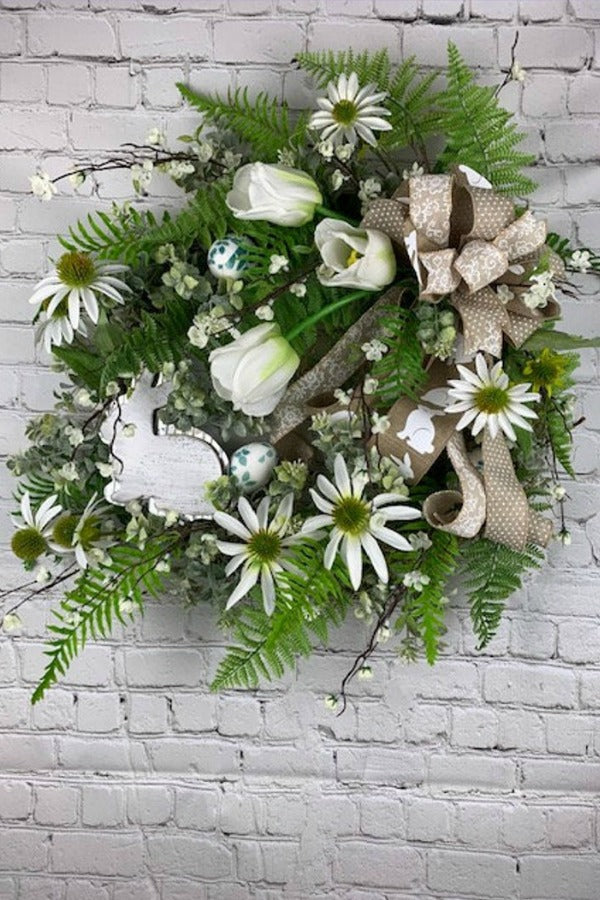 Easter wreath, easter greenery, spring easter wreath