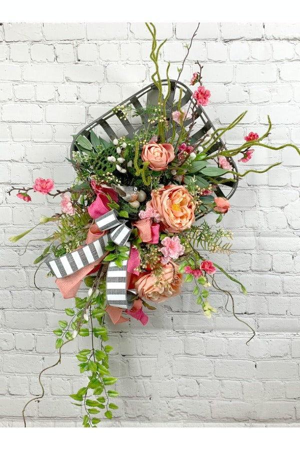 summer floral wreath, red floral wreath