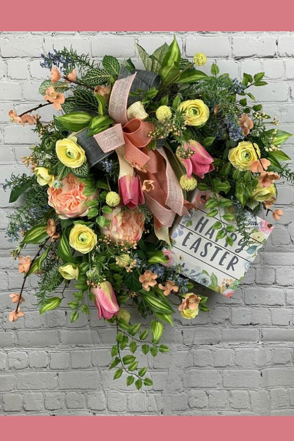 floral wreath, floral grapevine wreath, mother's day wreath