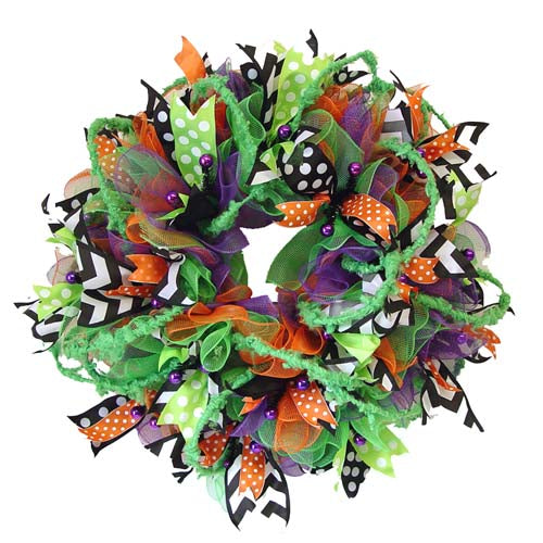 halloween-wreath-bobble-eyes-ribbons-finished