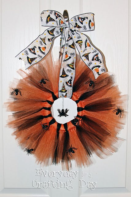 halloween wreath  made out of orange and black tulle