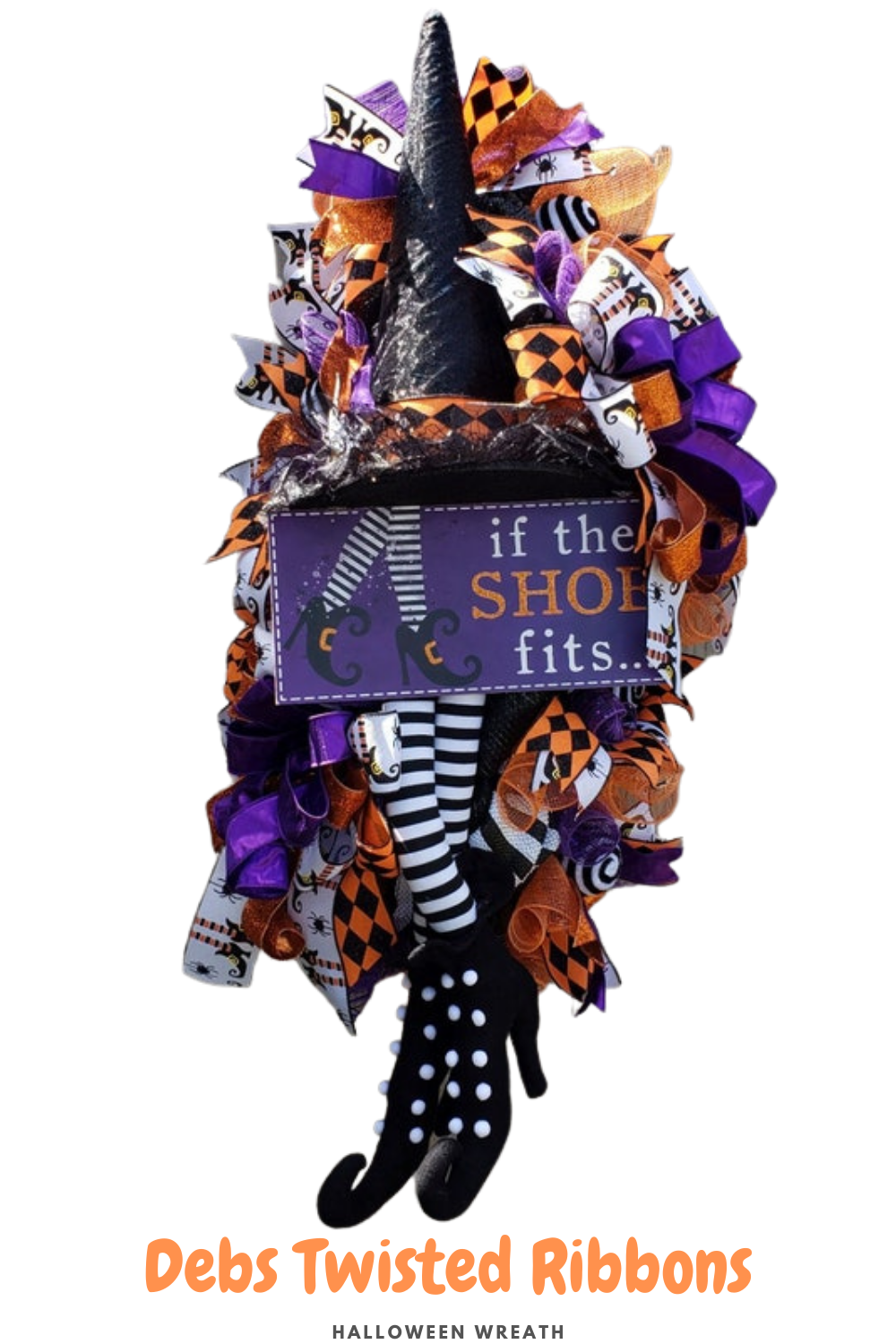 halloween wreath with hat legs if the shoe fits