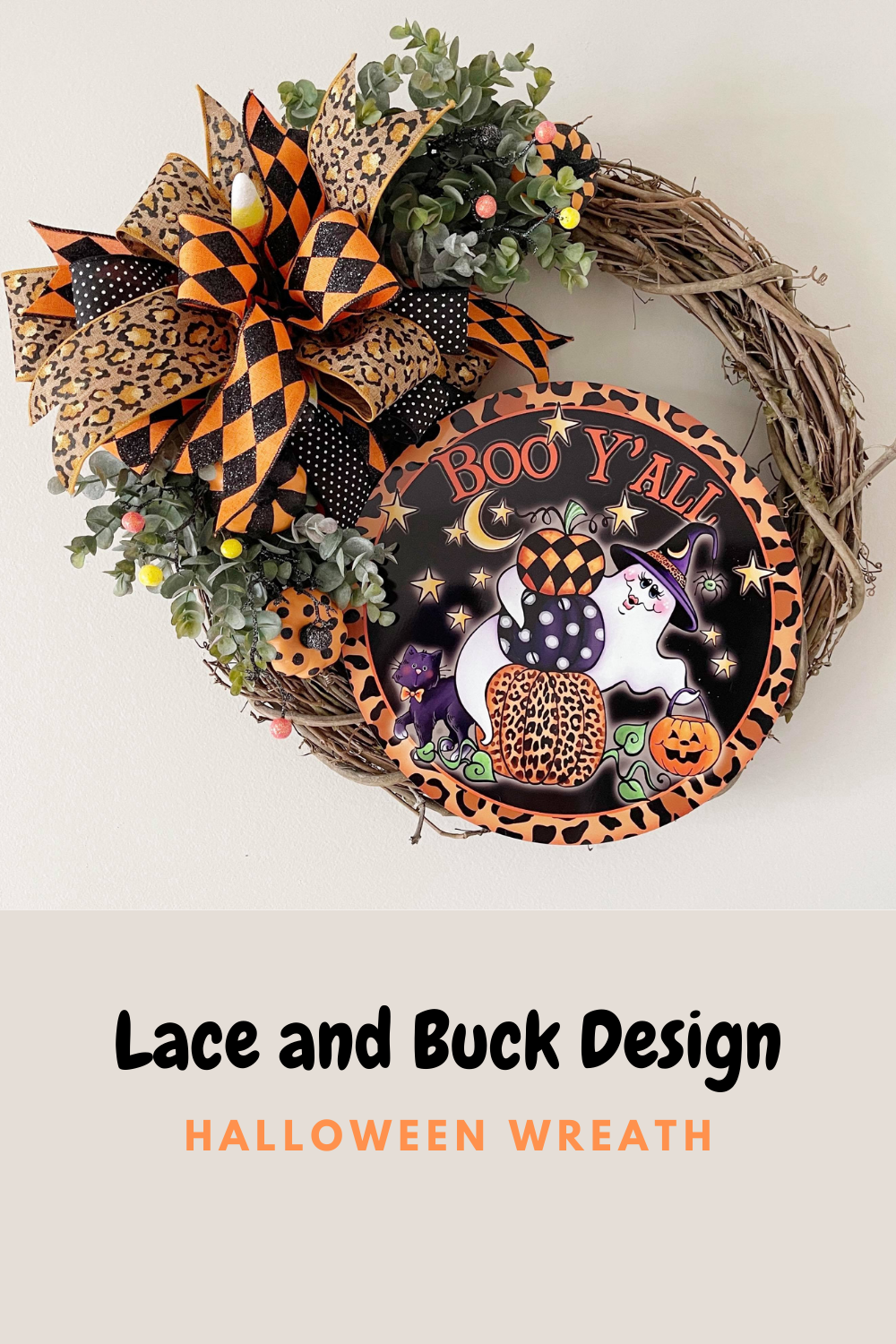 halloween grapevine wreath with boo sign