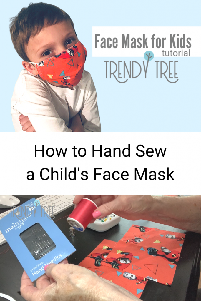 hand-sewn face mask for a child