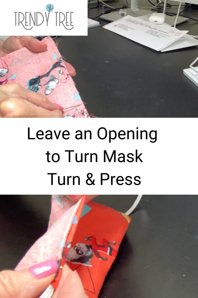 turn hand-sewn face mask