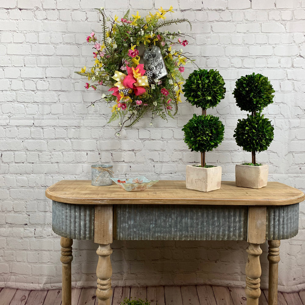 floral wreath, hobby lobby table, farmhouse table