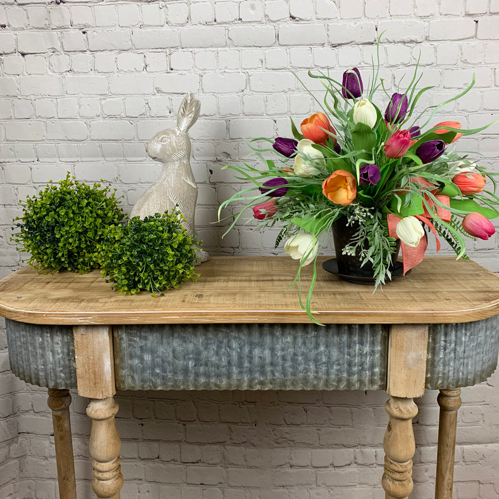 floral centerpiece, tulips, easter floral, easter centerpiece, hobby lobby table, farmhouse table