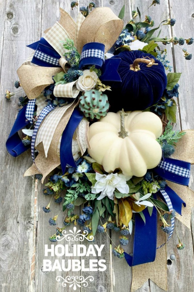fall pumpkin wreath, velvet pumpkin wreath, non-traditional fall color wreath