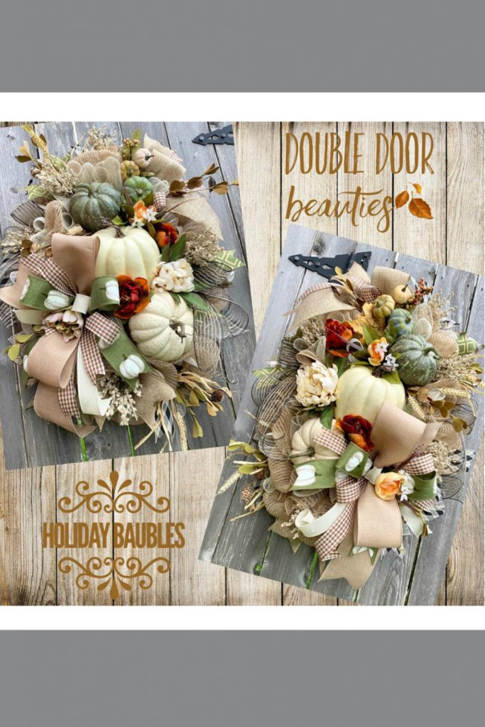 Fall pumpkin wreath, double door wreath