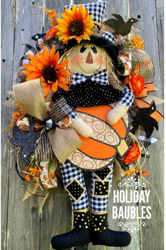 fall scarecrow wreath, black white check scarecrow
