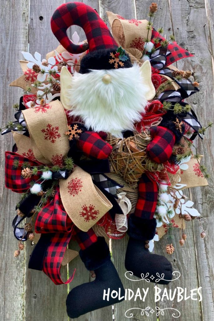Buffalo Check Elf Wreath, Rustic Elf Wreath