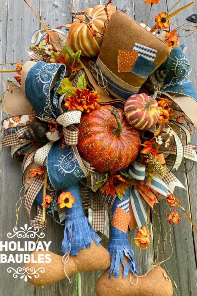scarecrow wreath, denim scarecrow fall wreat
