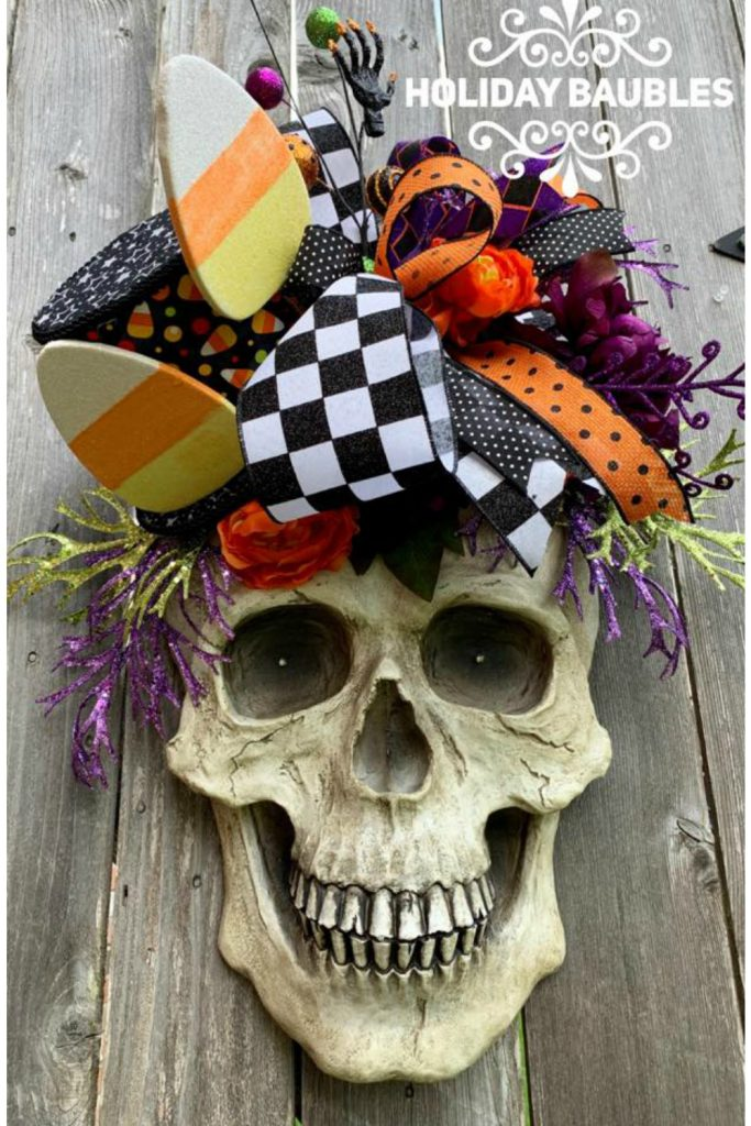 halloween wreath, ghost wreath, black white check ghost wreath