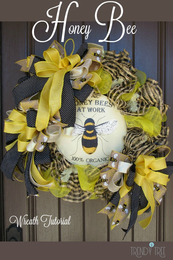 honey bee wreath, bee wreath, wreath tutorial