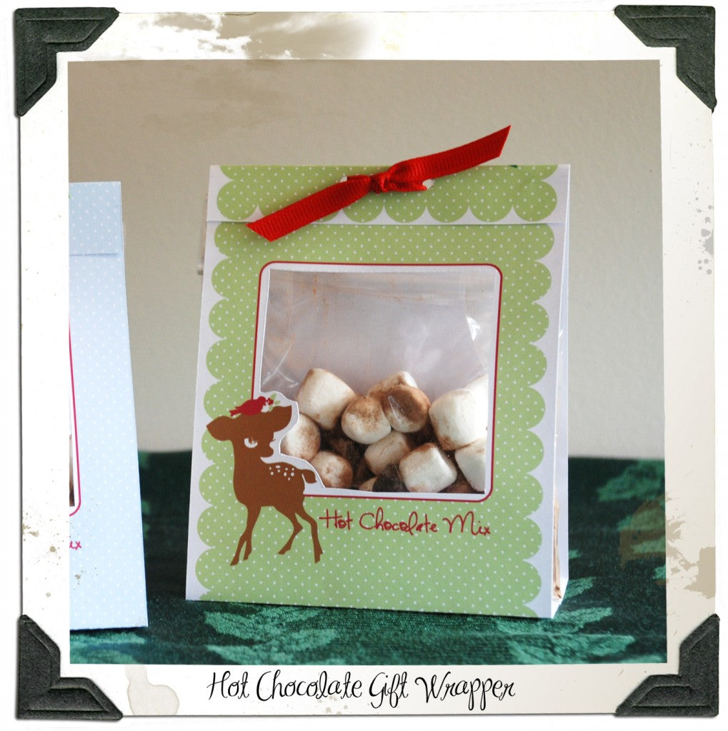 hot chocolate mix gift wrapper label
