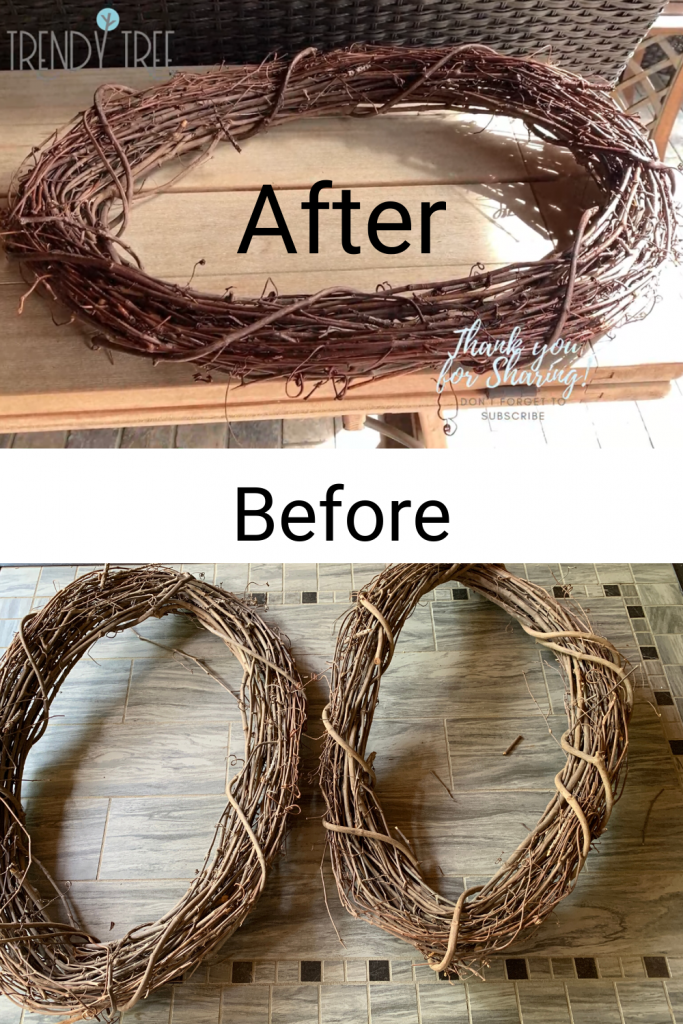 before and after fixed warped grapevine wreath