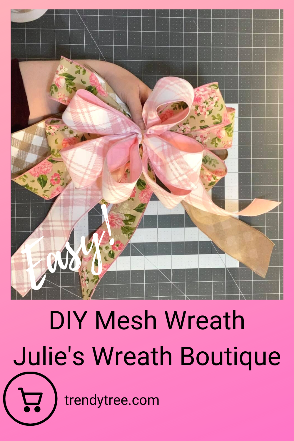 Bow for easy Deco mesh wreath.