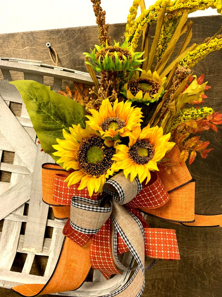 K.I.S.S., keep it simple silly, tobacco basket, fall floral, fall pick, sunflower, cattail, K.I.S.S. Fall Tobacco Basket
