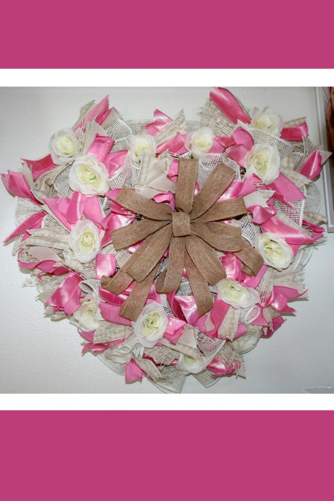 pink and natural valentine wreath