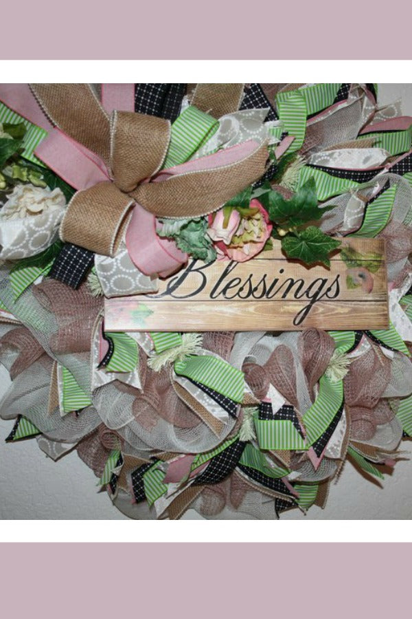 blessings wreath, spring wreath