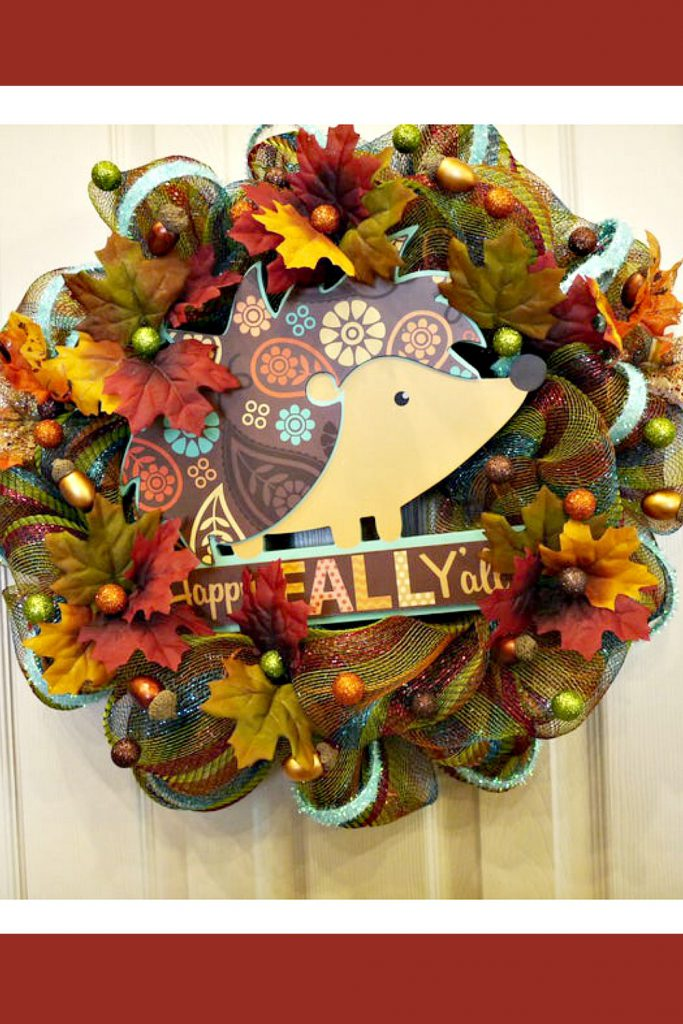Fall, Thanksgiving, Fall Wreath, Happy Fall Y'all, Hedgehog Wreath, Thanksgiving Wreath, Fall Decor, Gifts for her, Gifts, Housewarming Gift
