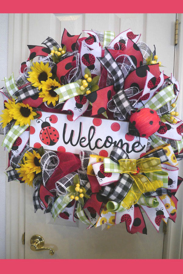 Ladybug, Summer, Sunflower, Ladybug Front Door Wreath, Summer Wreath, Outdoor Wreaths, Summer Deco Mesh Wreath, Summer Front Door Wreath, Welcome Wreath