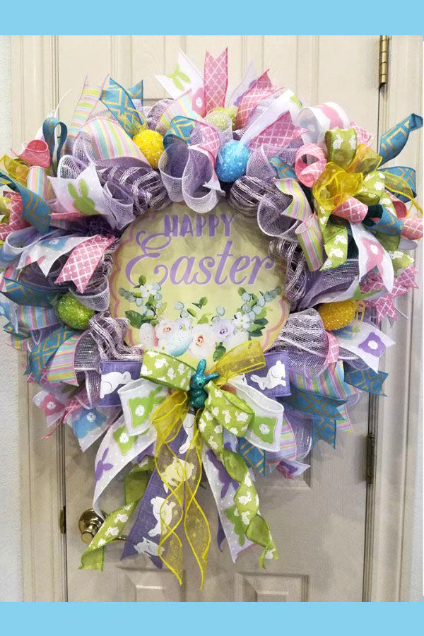 Easter Wreath, Easter, Easter Decor, Easter Bunny Wreath, Bunny Wreath, Spring Wreath, Easter Deco Wreath, Whimsical Wreath, Handmade Wreath, Front Door Wreath, Deco Mesh Wreath, Outdoor Wreath.