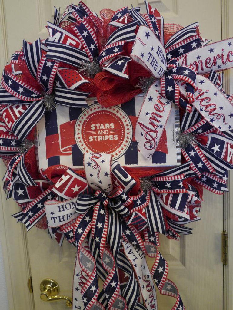 Patriotic Wreath, Fourth of July, 4th July Wreath, Stars and Stripes, Outdoor Wreath, Americana Wreath, Independence Day, Memorial Day, Veterans, Front Door Wreath