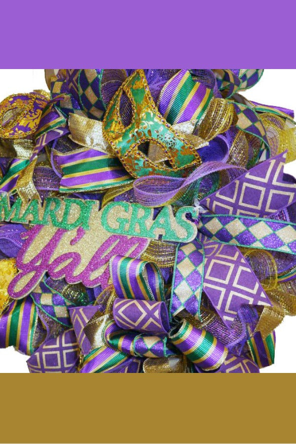 Mardi Gras Wreath, Front Door Wreath, Mardi Gras Mask, Mardi Gras Outdoor Decor, Deco Mesh Mardi Gras Wreath, Purple Gold Green, Fat Tuesday