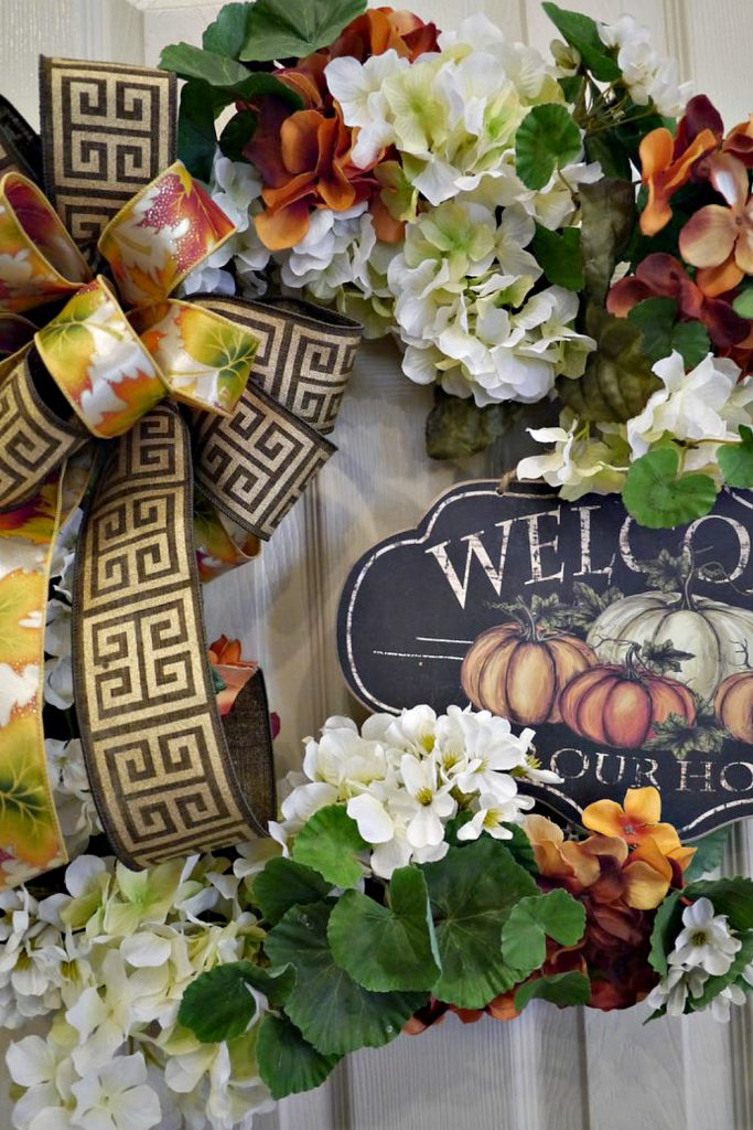 "Fall Wreath, Hydrangea Fall Wreath,Thanksgiving Wreath, Grapevine Wreath, Welcome Front Door, Autumn Wreath, Free shipping, Outdoor Wreath, ""Welcome To Our Home"" Wreath"