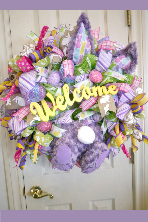 Easter Wreath, Welcome Easter Wreath, Easter Decor, Easter Bunny Wreath, Bunny Butt Wreath, Spring Wreath, Easter Deco Wreath, Whimsical Wreath, Handmade Wreath, Front Door Wreath, Deco Mesh Wreath, Outdoor Wreath.