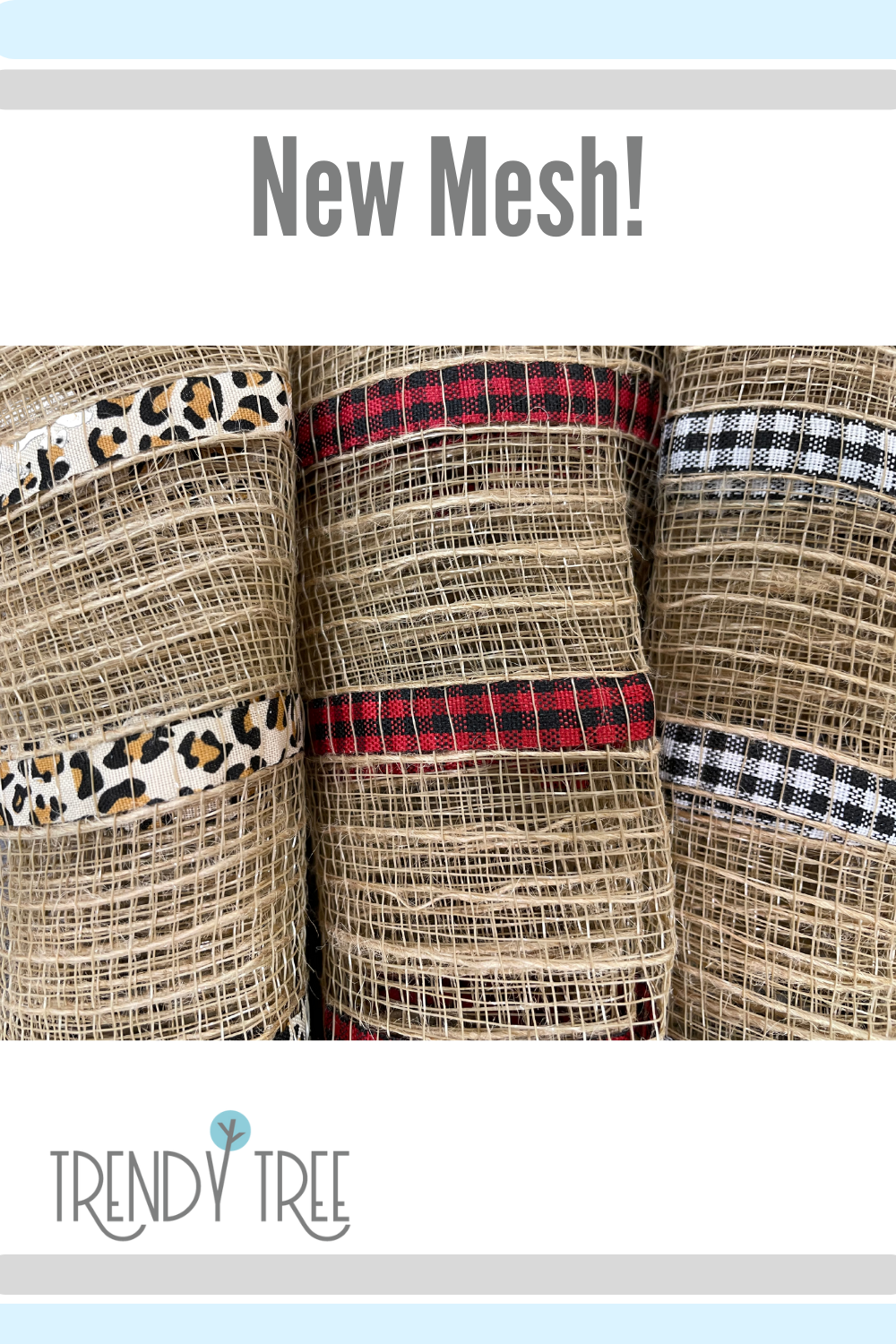 patterned mesh, natural with fabric strips at Trendy Tree