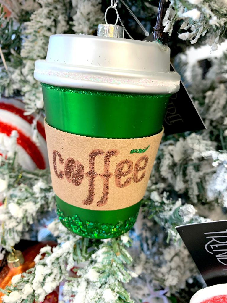go coffee, coffee cup ornament, christmas coffee ornament