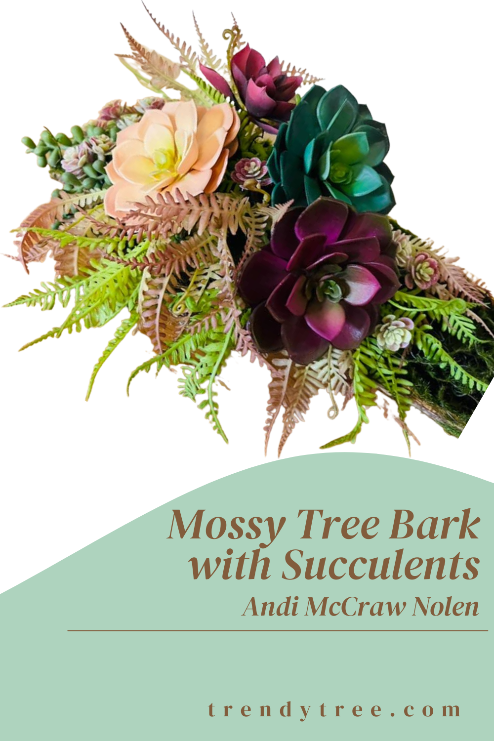 moss covered tree bark with jewel tone succulents