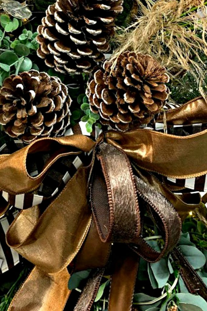 pinecone, horsehair ribbon, faux leather ribbon