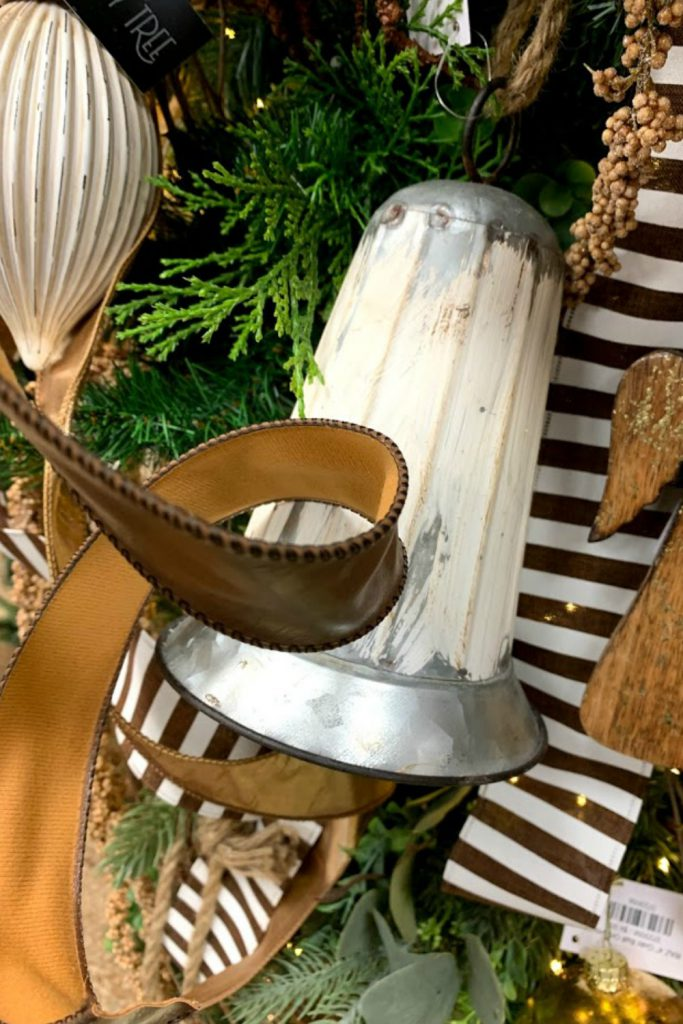 metal christmas bell, faux leather ribbon, chocolate stripe ribbon