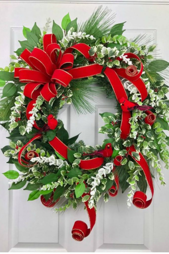 red cardinal bird, northern cardinal, red bird wreath, winter wreath