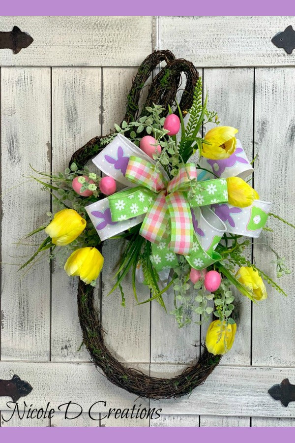 Easter Wreath -Bunny Shape Vine Wreath- Front Door Wreaths- Spring Wreath- Bunny Wreath!