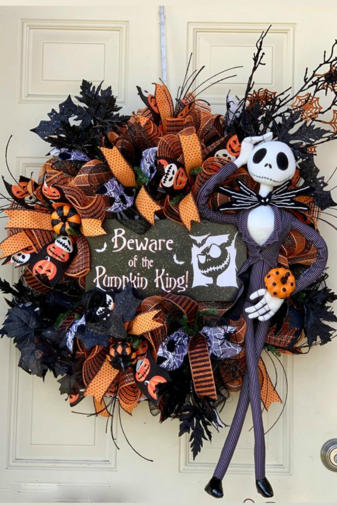 halloween wreath, pumpkin king wreath, skellington wreath, jack skellington